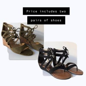 Lace Up Wedge Sandal 8.5 - Two for One